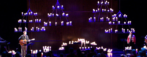 Throwback Candle Chandeliers Church Stage Design Ideas