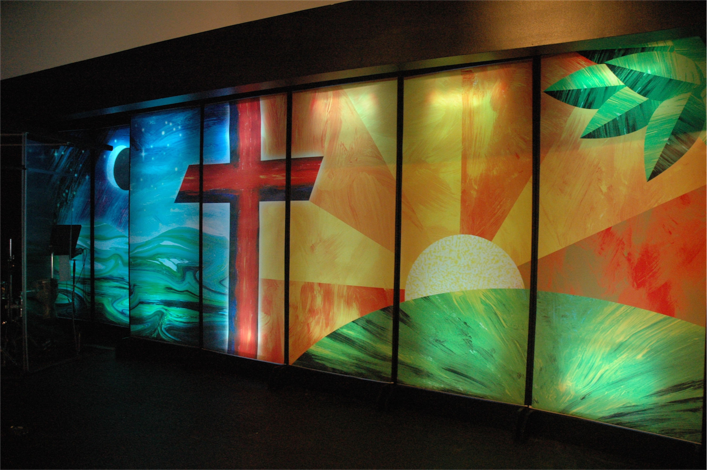 Mural mural on the wall church stage design ideas for Church wall mural