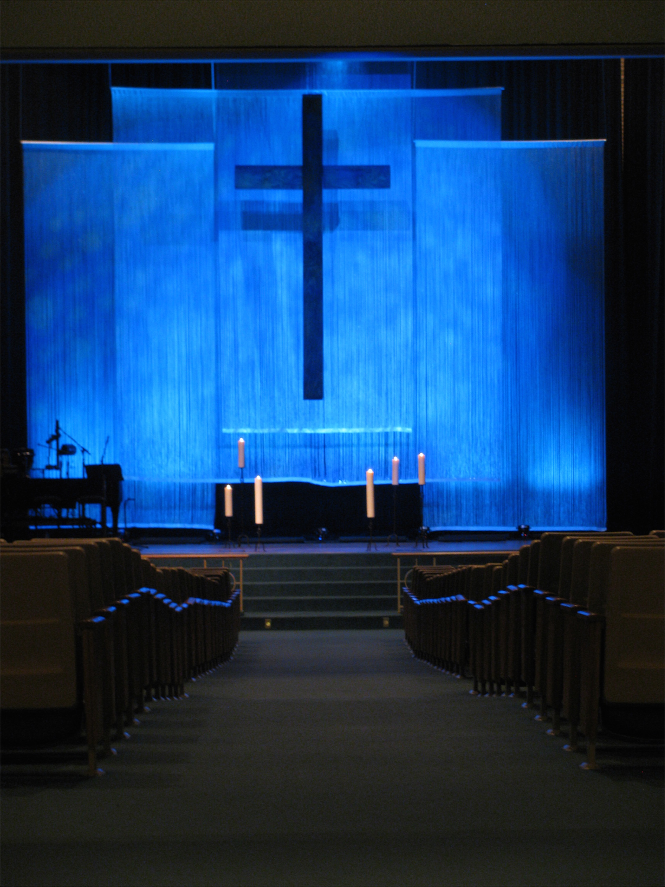 String curtain church stage design ideas for Backdrop decoration for church