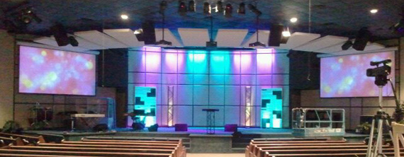 Acoustics And Pallets Church Stage Design Ideas