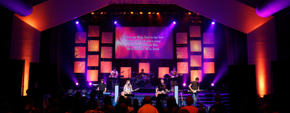 Spandex Squares Church Stage Design Ideas