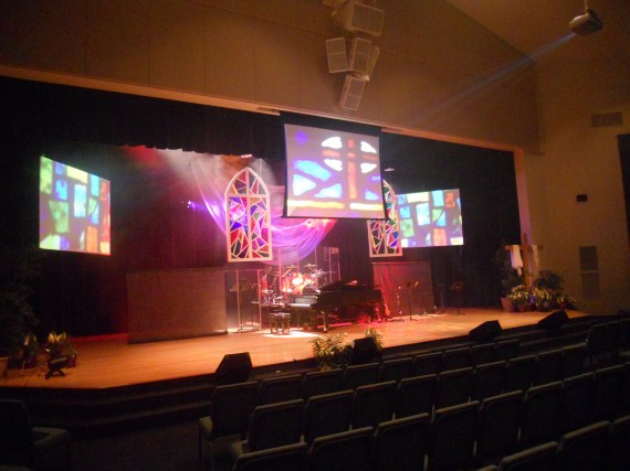 Floating Stained Glass Church Stage Design Ideas