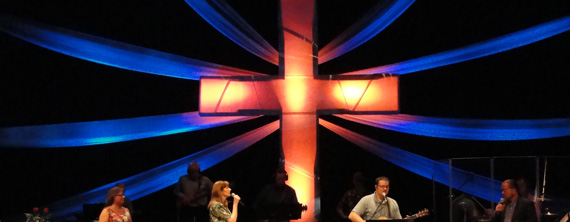 Sunburst Cross Church Stage Design Ideas