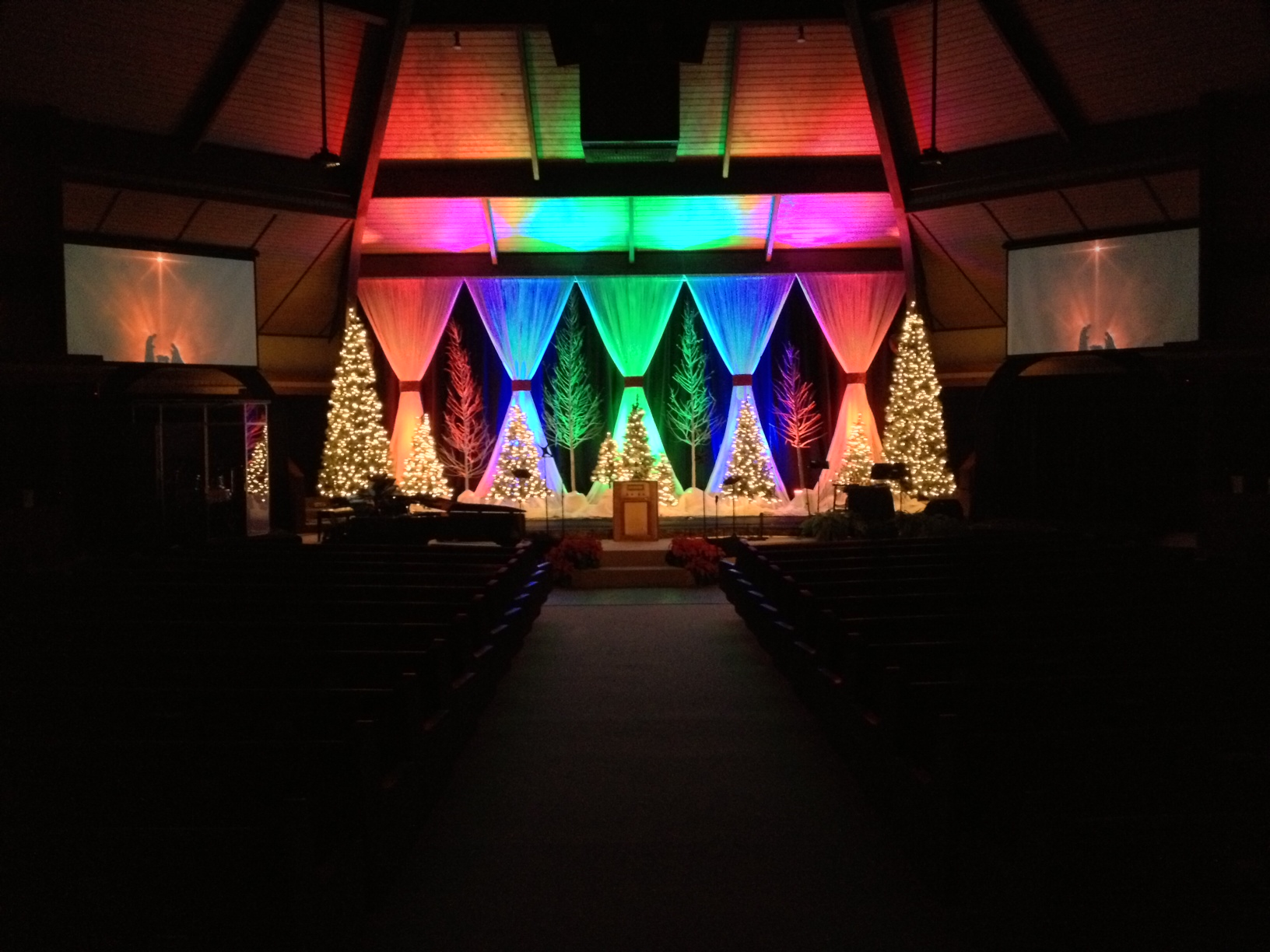A Rainbow Christmas Church Stage Design Ideas