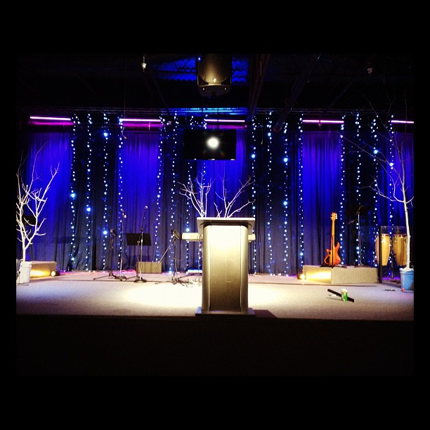 Christmas lines church stage design ideas for Backdrop decoration for church