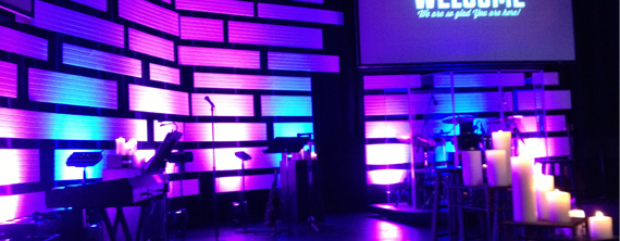 Candles And Horizontals Church Stage Design Ideas