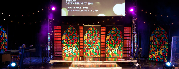 Cubist Stained Glass | Church Stage Design Ideas