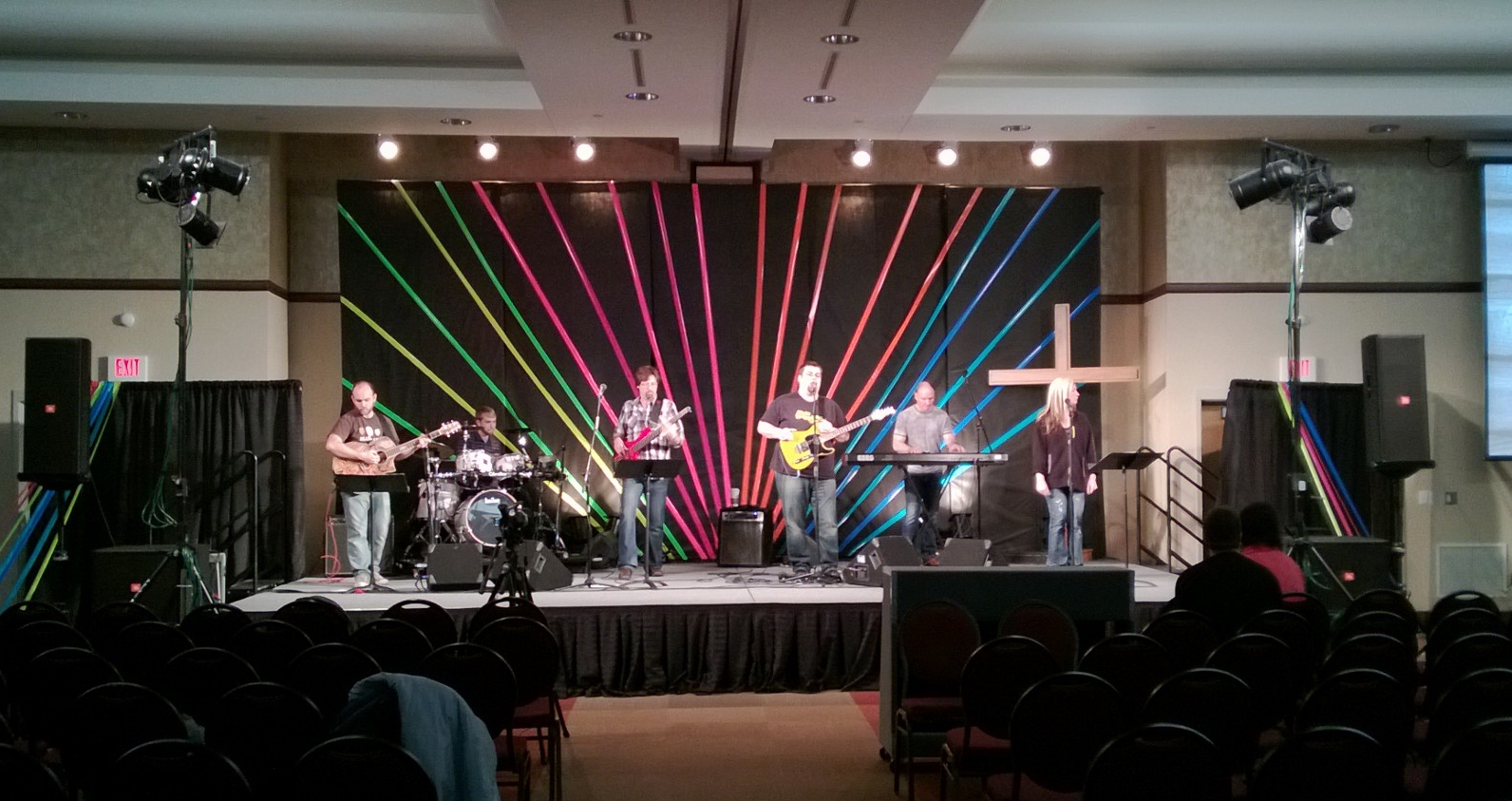 colorful duct tape church stage design ideas