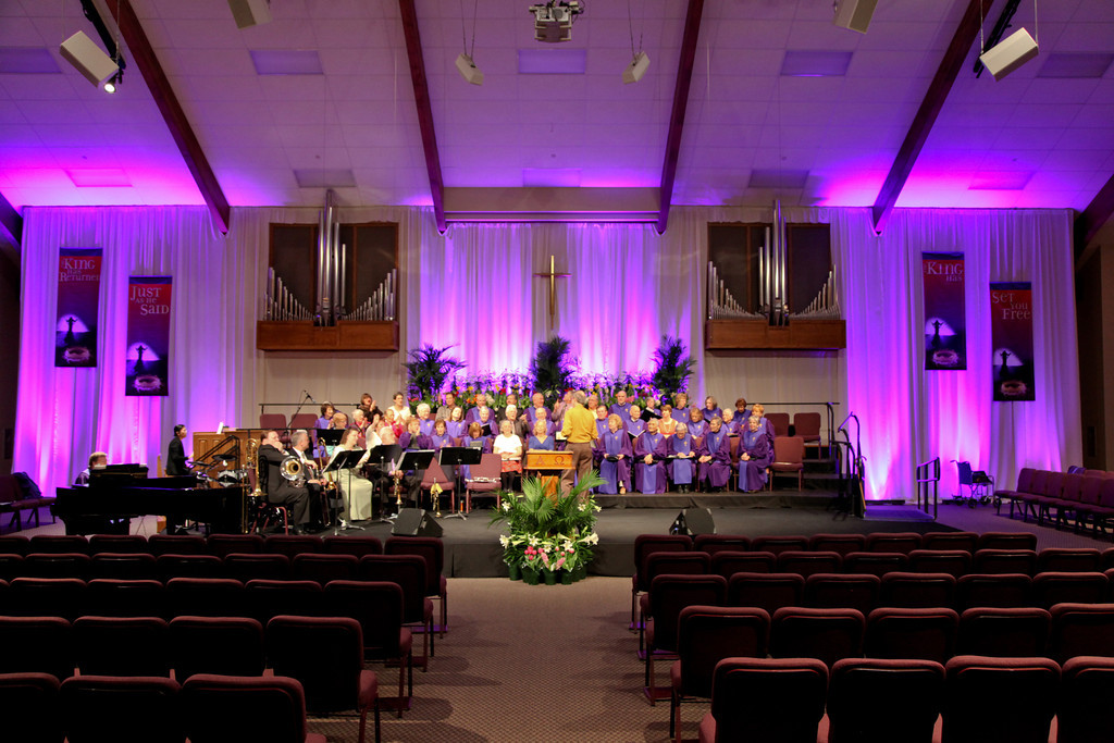 Purple Spread Church Stage Design Ideas