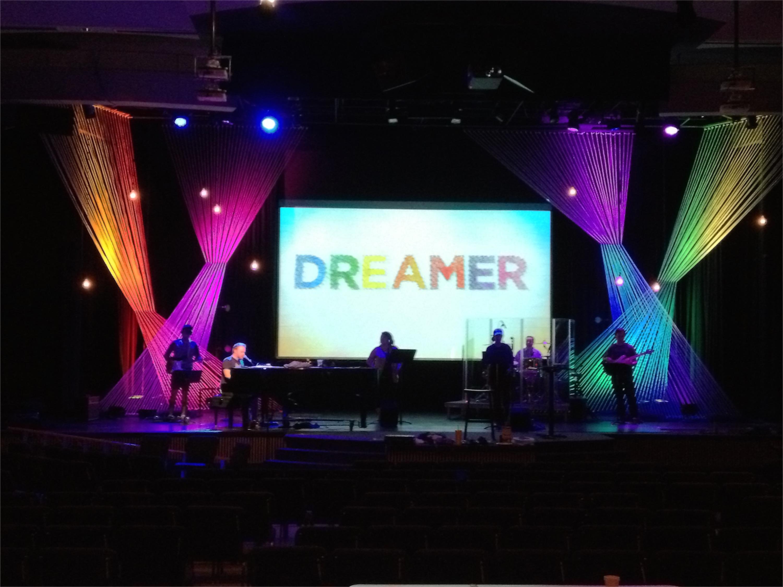 strung fabric church stage design ideas