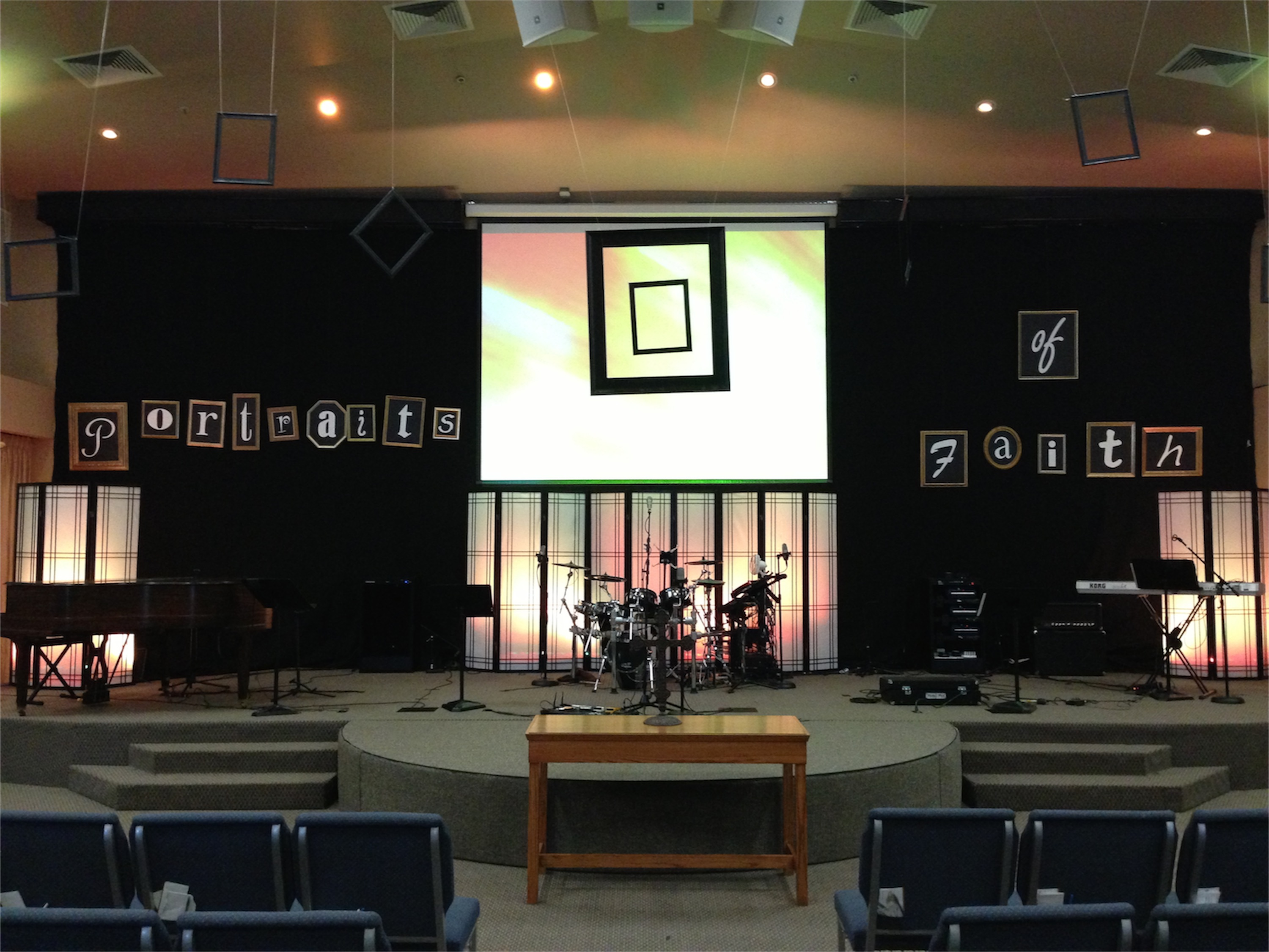 framed letters church stage design ideas