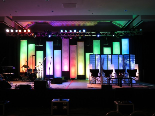 dot banners church stage design ideas