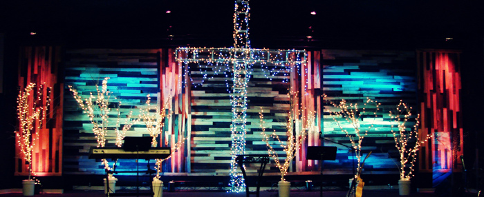 Colorful Christmas Church Stage Design Ideas
