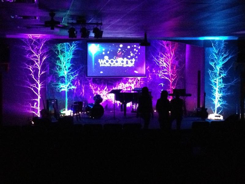 trees and roughage church stage design ideas