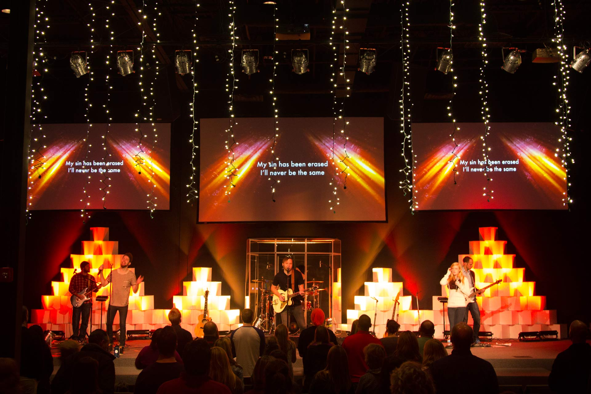 Christmas Box Church Stage Design Ideas