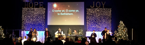 particles of christmas church stage design ideas