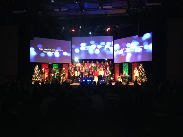Vandalized Christmas Church Stage Design Ideas