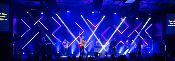 Angled Glow Lines Church Stage Design Ideas