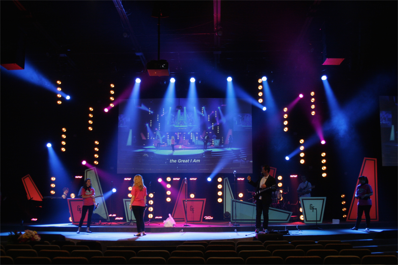 Retro Game Show Church Stage Design Ideas