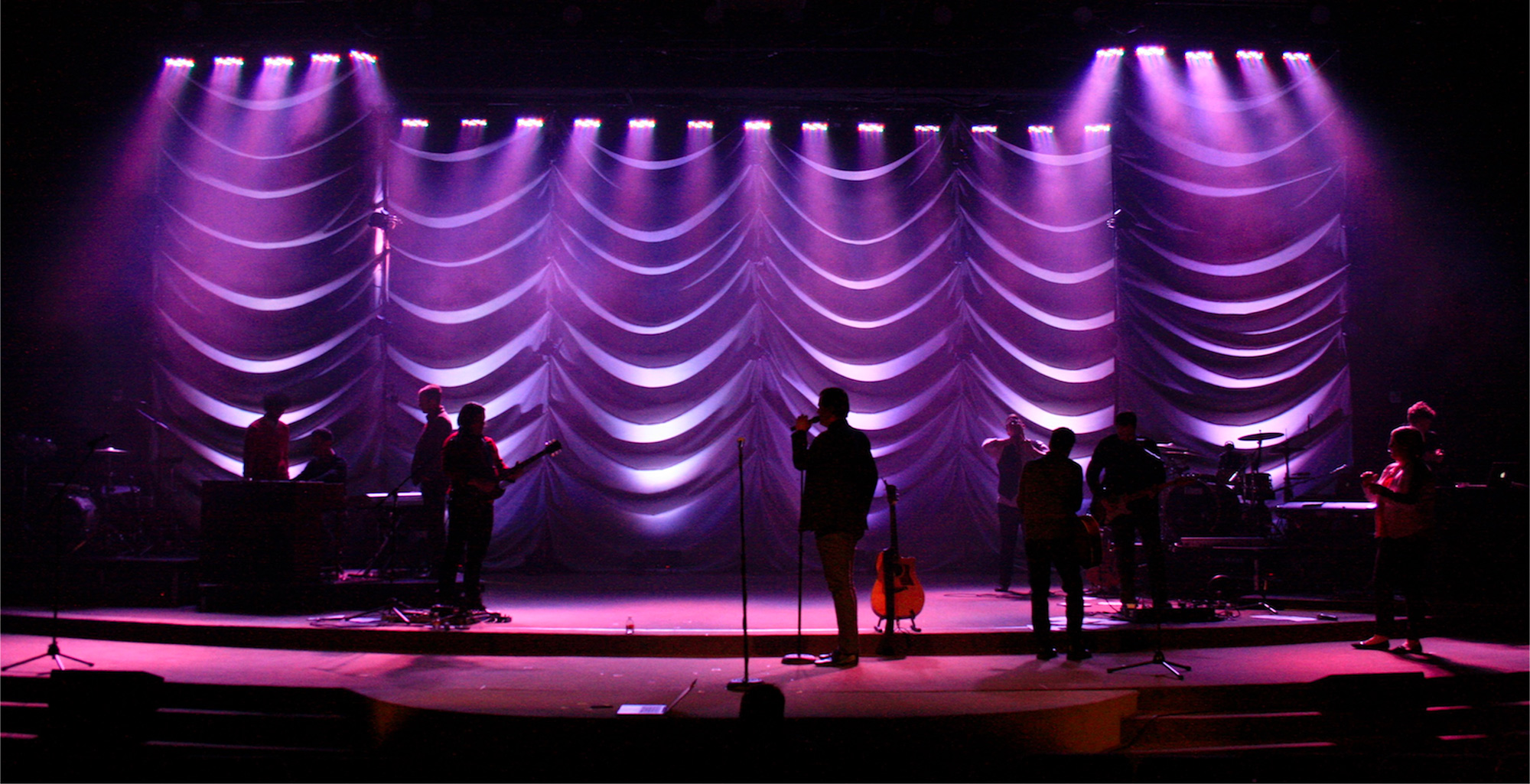 rippling background church stage design ideas - Stage Design Ideas
