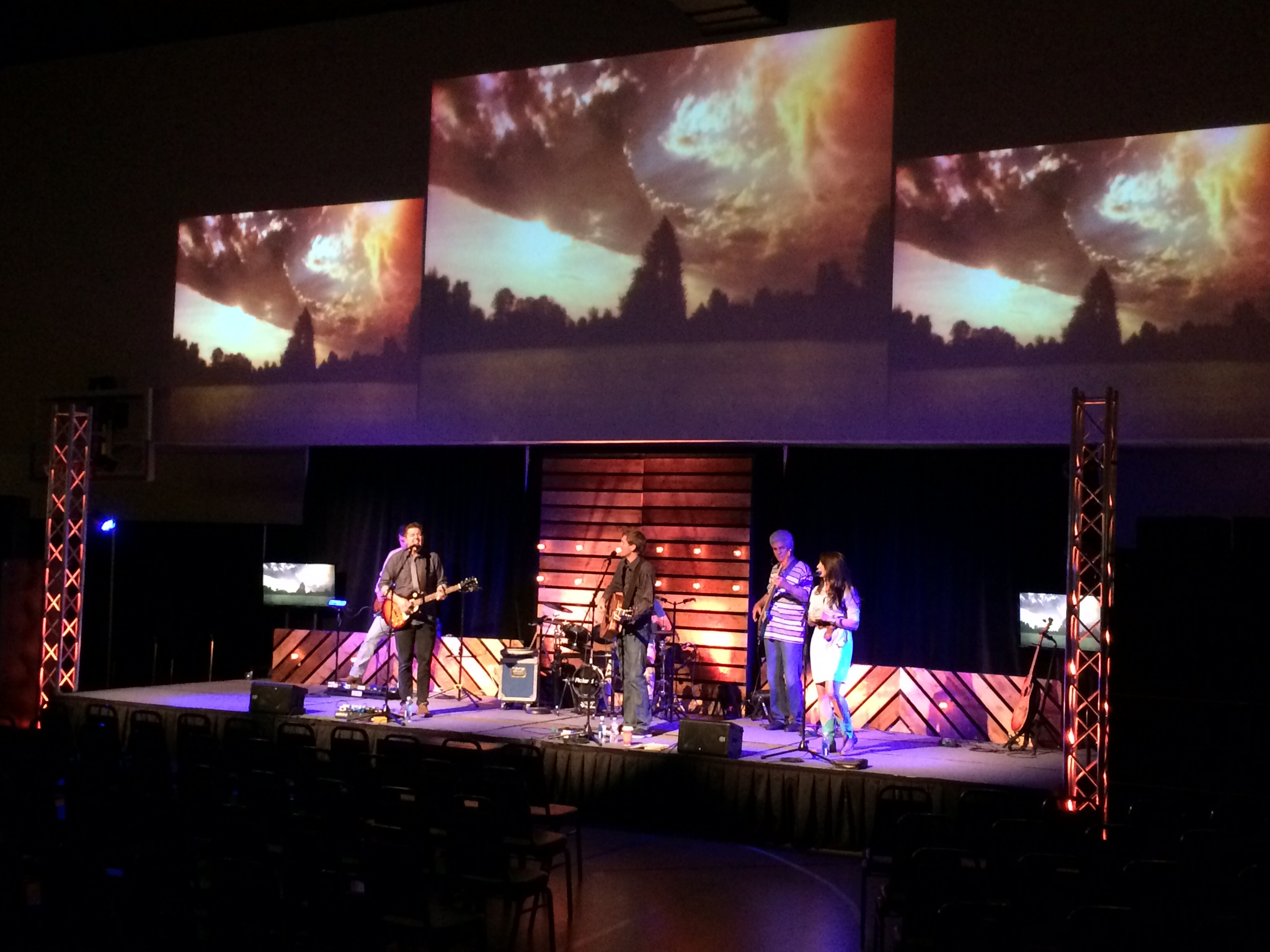 wood paneling and lighting church stage design ideas