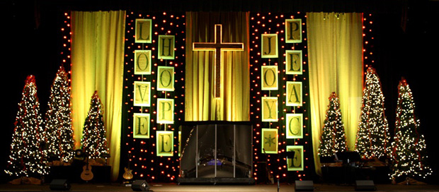Lines Of Christmas Text | Church Stage Design Ideas