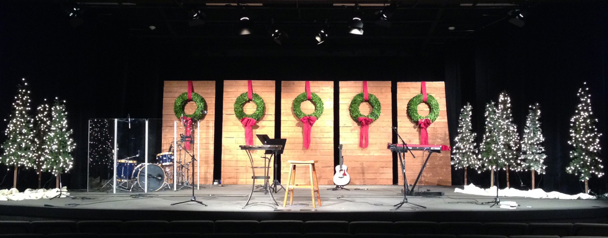 Wreaths and Walls | Church Stage Design Ideas