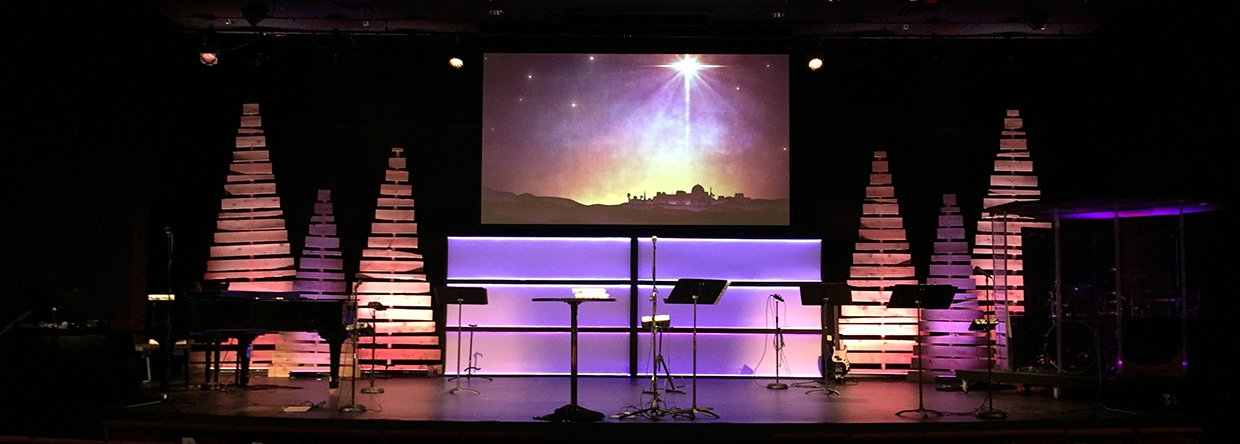 Christmas Piled Church Stage Design Ideas