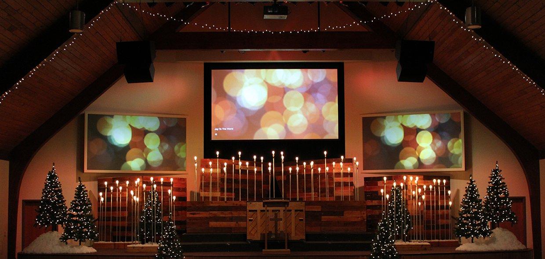 Christmas Beacons Church Stage Design Ideas