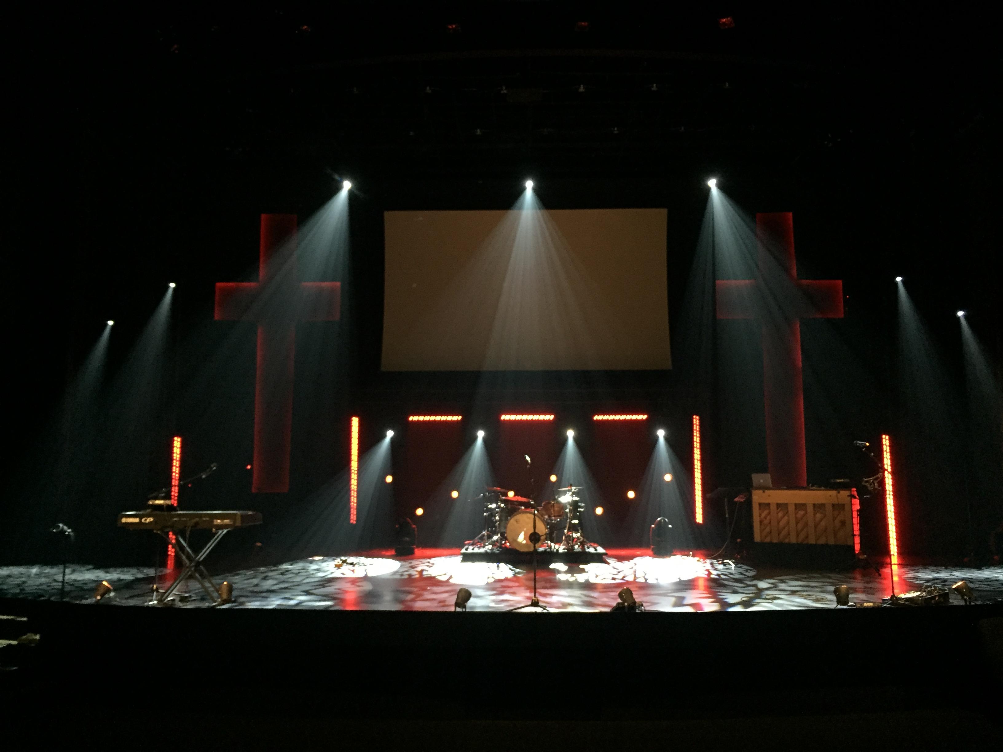 Dimly Lit Crosses Church Stage Design Ideas