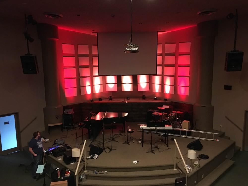Lit Up Grid Church Stage Design Ideas