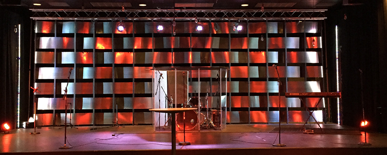 Woven Metal Church Stage Design Ideas