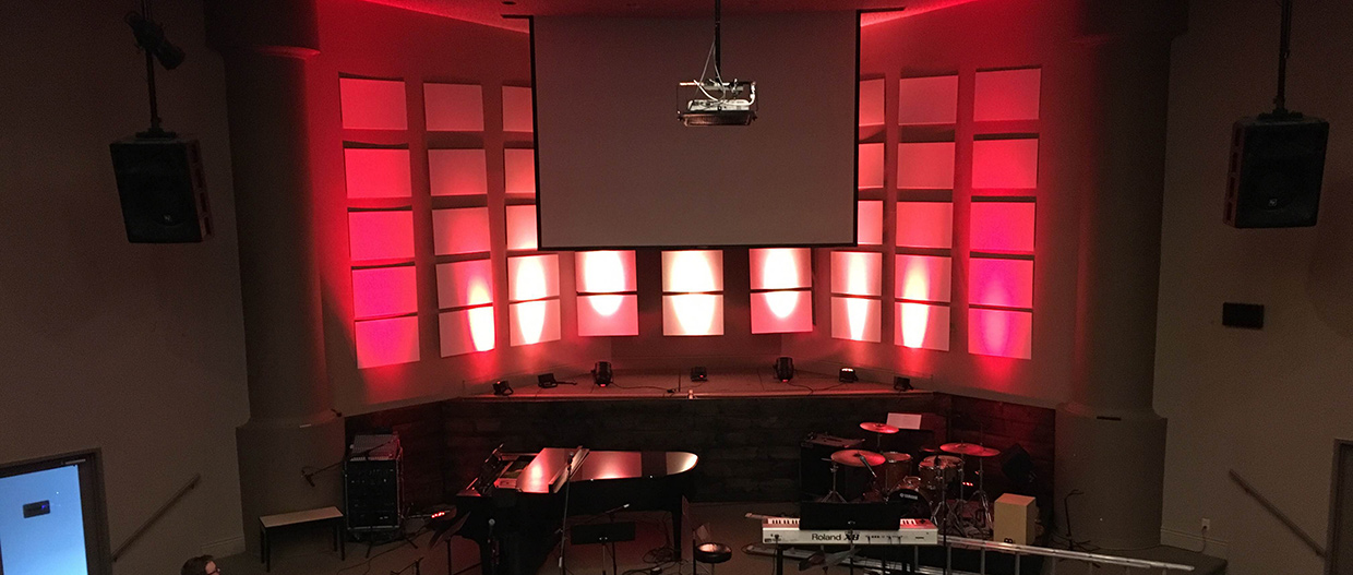 Lit Up Grid Church Stage Design Ideas