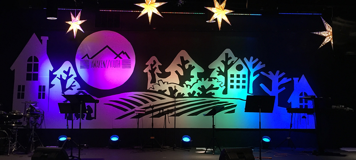 Two Tone Christmas Church Stage Design Ideas