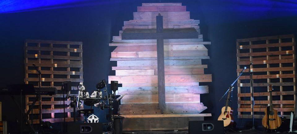 Rugged Cross Background Church Stage Design Ideas