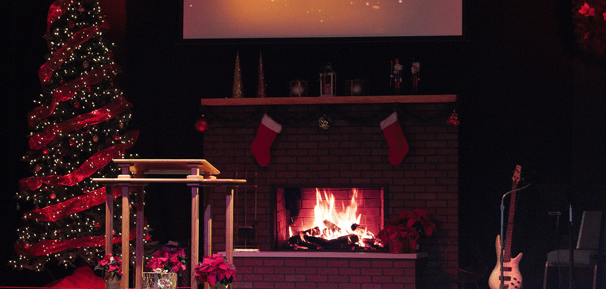 Christmas Fire Church Stage Design Ideas