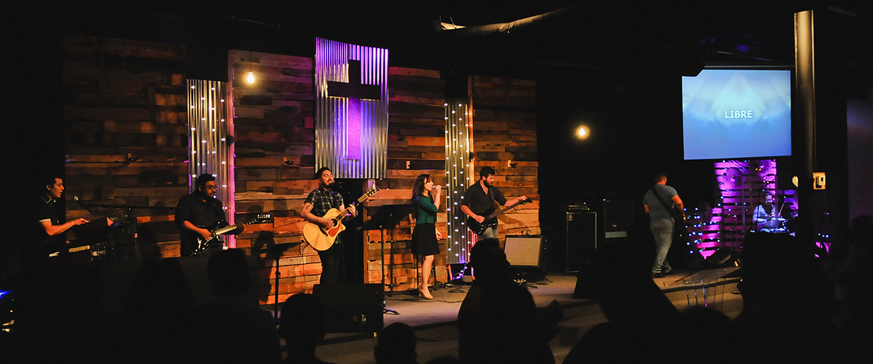 Metal And Wood Grain Church Stage Design Ideas