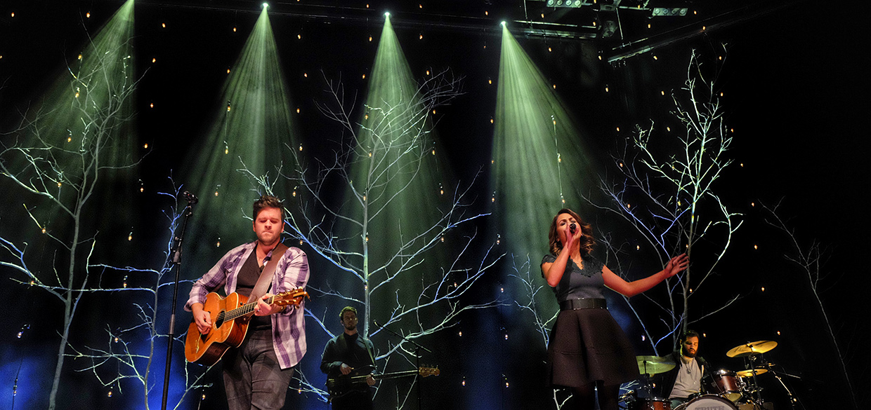 Dotted Trees Church Stage Design Ideas