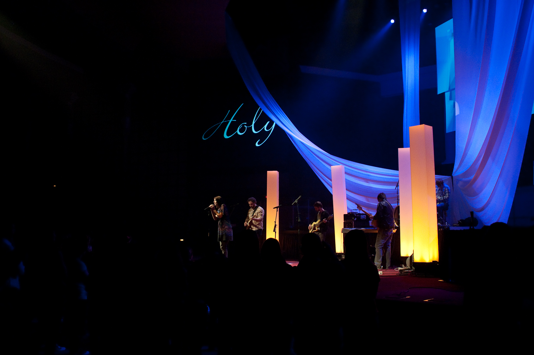 Throwback Light Pillars Church Stage Design Ideas