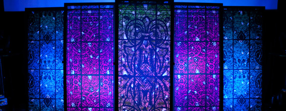 Throwback Stained Paper Panels Church Stage Design Ideas