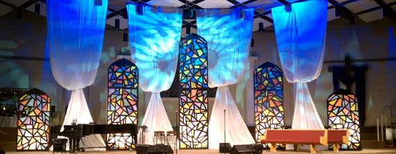 Stained Glass Church Stage Design Ideas