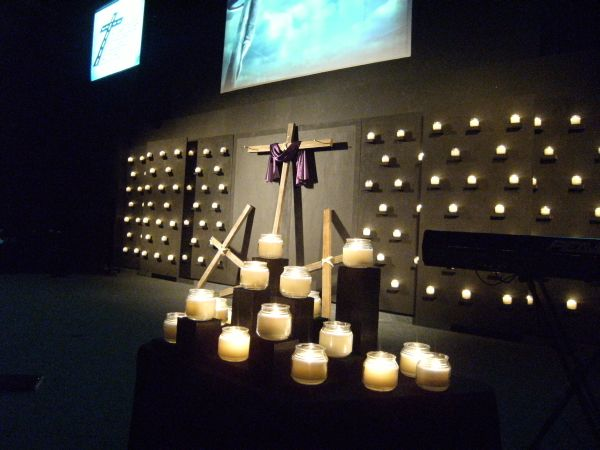 Candle Wall Church Stage Design Ideas
