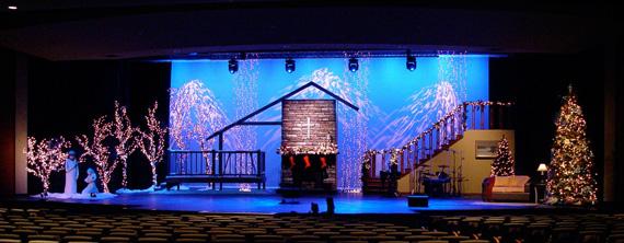 A Christmas Scene Church Stage Design Ideas