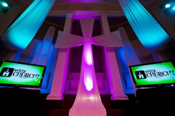 Fabric Cross Church Stage Design Ideas