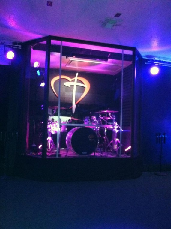 Spandex Bookends Church Stage Design Ideas