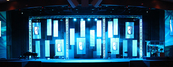 Framed Flat Panels Church Stage Design Ideas