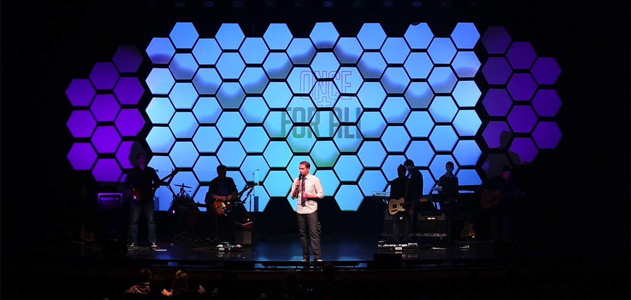 throwback hex wall church stage design ideas