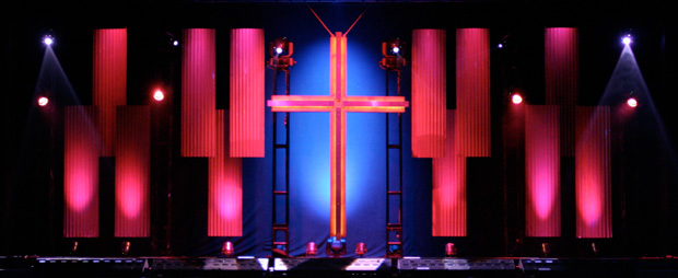 Siding And Crosses Church Stage Design Ideas