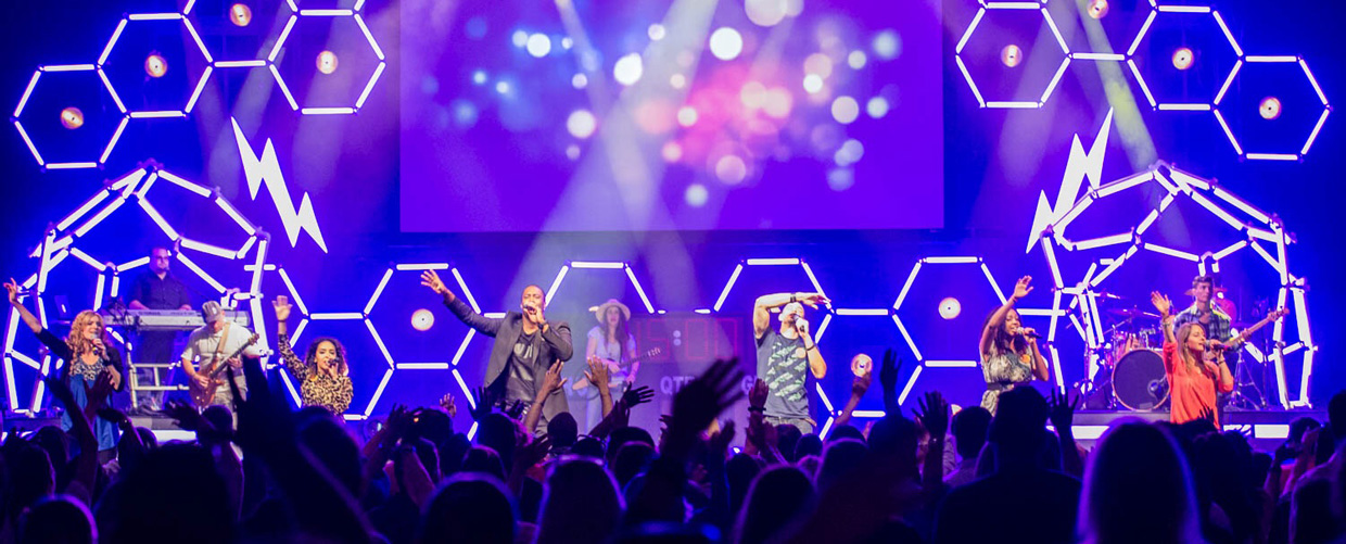 Led Hexagons Church Stage Design Ideas