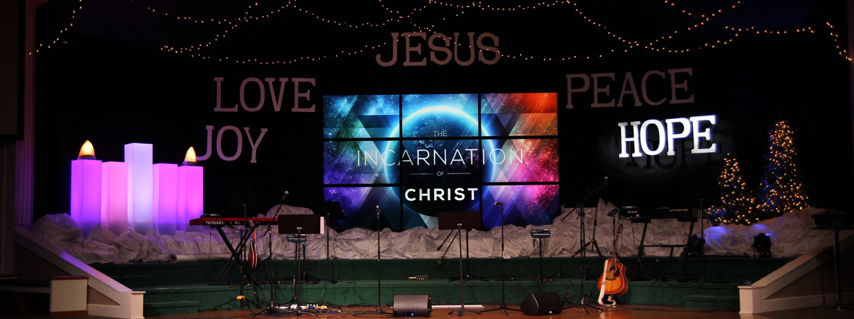 Lit Advent Candles Church Stage Design Ideas